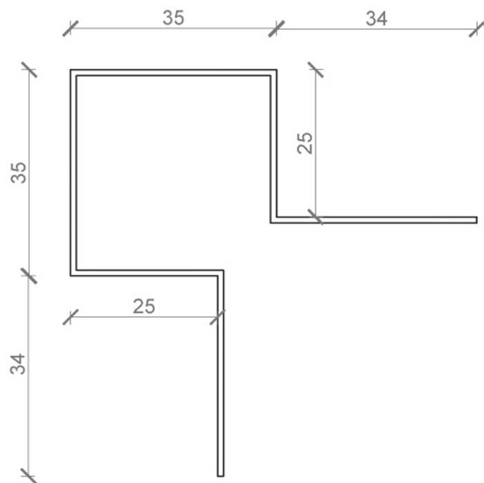 Udvendig hjørneprofil til facadebeklædning