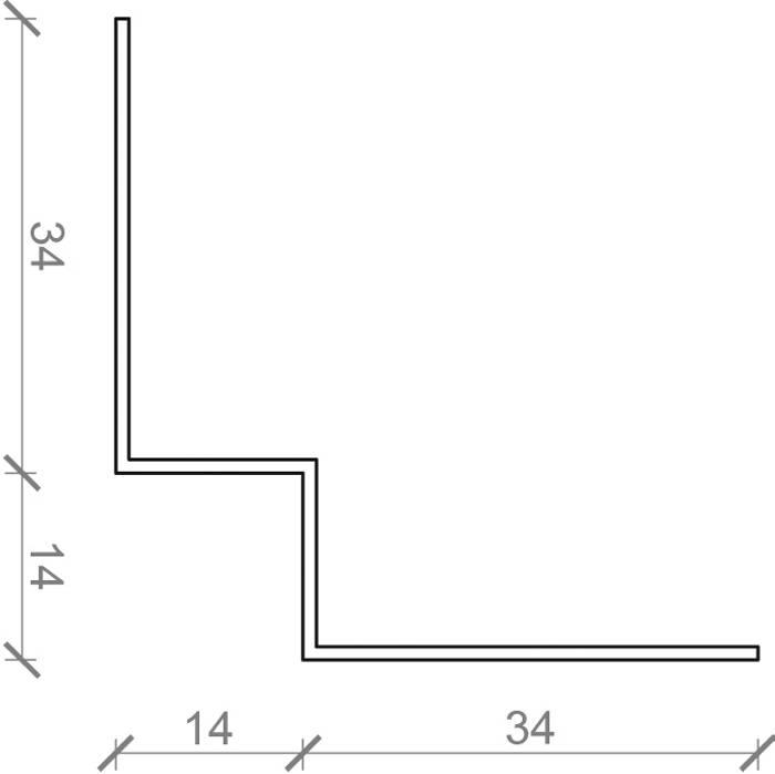 Indvendig hjørneprofil til facadebeklædning