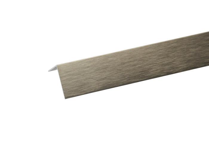 Vinkelliste børstet stål - 20 x 10 mm x 2 m