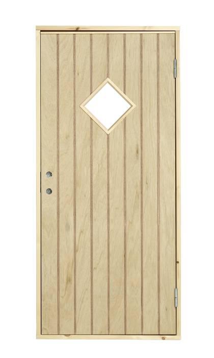 Udhusdør med rude højrehængt 94,8 x 205 cm