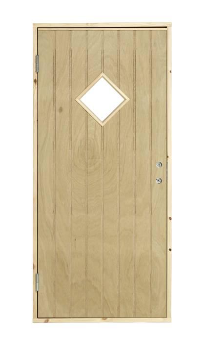 Udhusdør med rude venstrehængt 94,8 x 205 cm