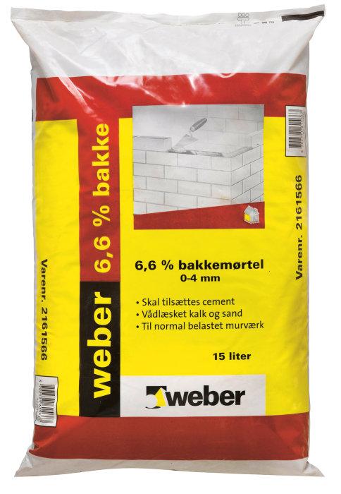 Weber bakkemørtel 6,6% - 15 liter