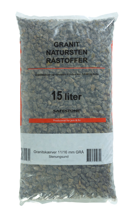 Safestone granittgrus 25 kg - Grå Stenungsund