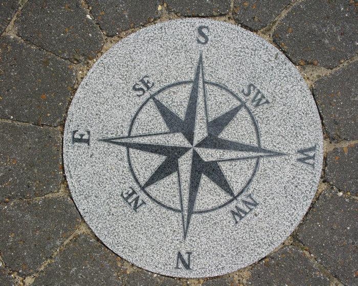 Granit kompas grå mat Ø40 cm