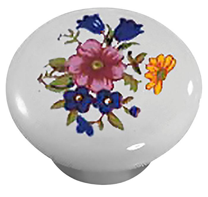 Porcelænsknop hvid med deko Ø32 mm 2 stk.