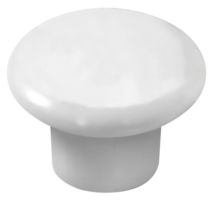 Porcelænsknop hvid Ø25 mm 2 stk.