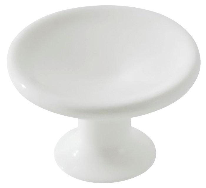 Møbelknop hvid plast Ø40 mm 2 stk.