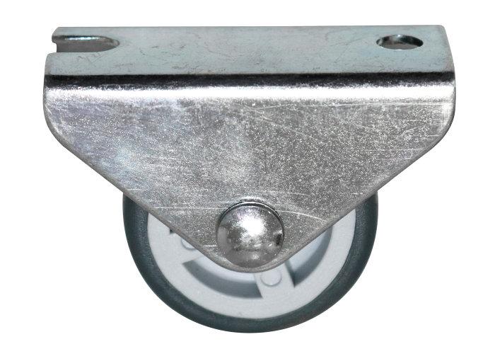 Møbelhjul buk fast grå 30 mm