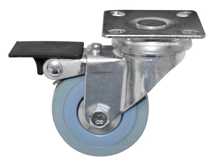 Møbelhjul m. drejbar plade og bremse. 50 mm.