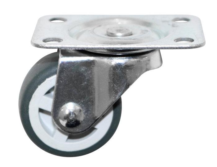 Møbelhjul drejbart med plade grå 30 mm