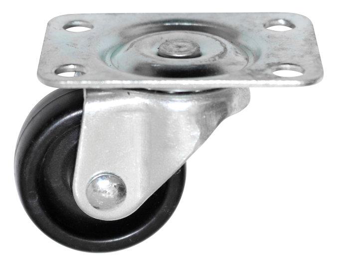 Møbelhjul drejbart med plade sort 30 mm