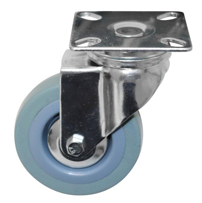 Møbelhjul drejbart med plade grå 75 mm