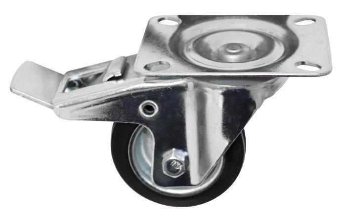 Møbelhjul drejbart med plade og bremse 80 mm