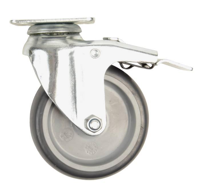 Møbelhjul drejbart m/plade og bremse sort 75 mm