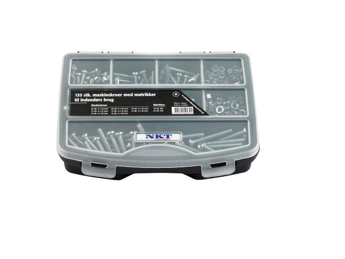 NKT maskinskruer i kasse 135 skruer m/møtrik