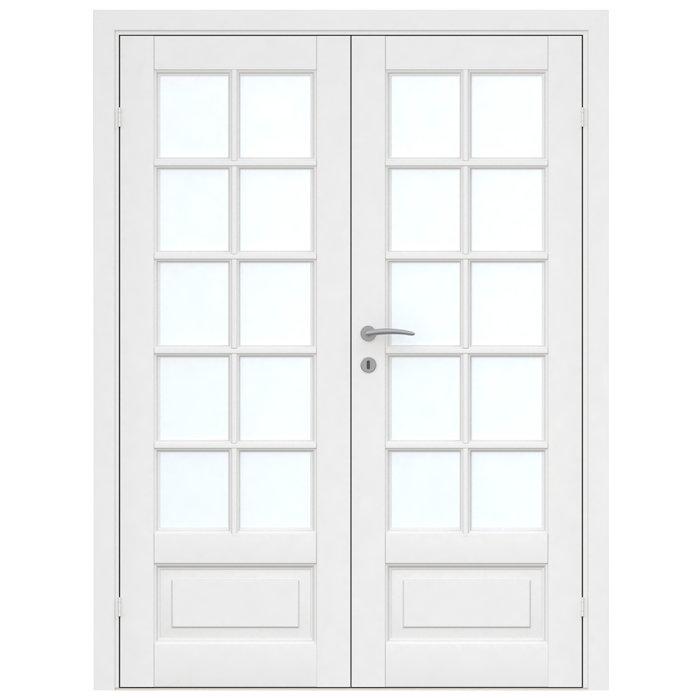 Massiv hvidmalet dobbelt glasdør - 2 x 72,6 cm