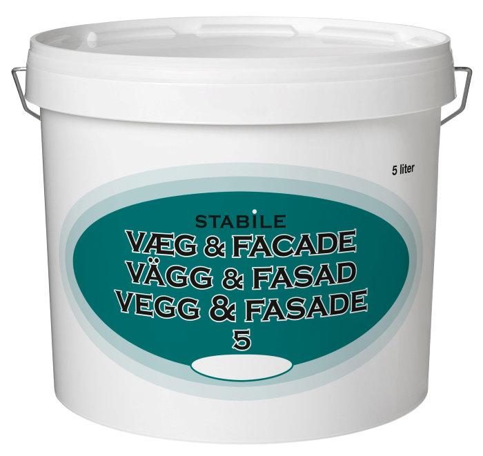Væg- og facademaling glans 5 hvid 5 liter -  Stabile