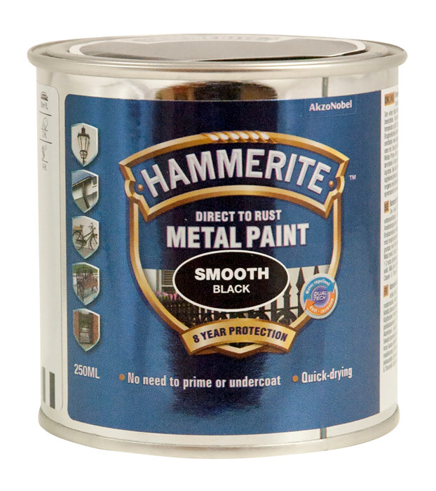 Hammerite metalmaling sort glat effekt 250 ml