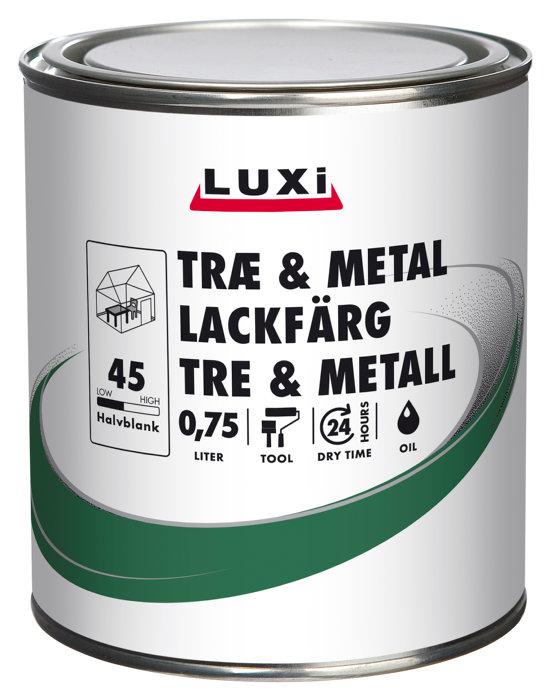 Træ- & metalmaling oliebaseret mellemgrå 0,75 l - Luxi