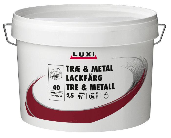 Tre og metall maling vannbasert lysgrå 2,5 liter - Luxi