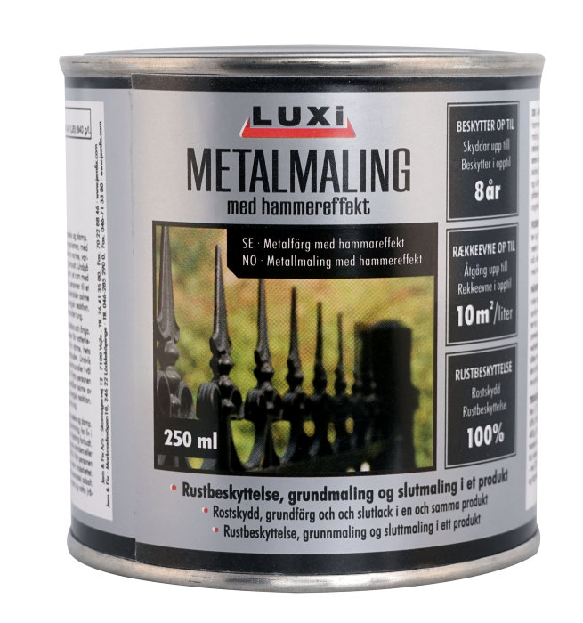 Metalmaling sort med hammereffekt 250 ml - Luxi