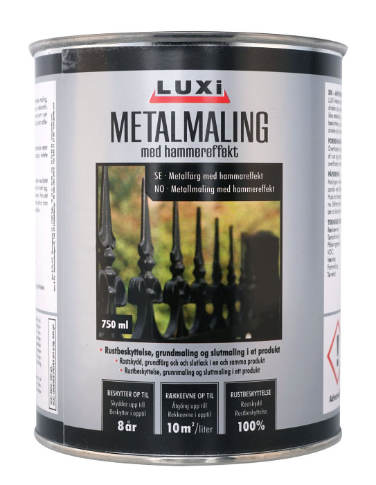 Metalmaling sort med hammereffekt 750 ml - Luxi