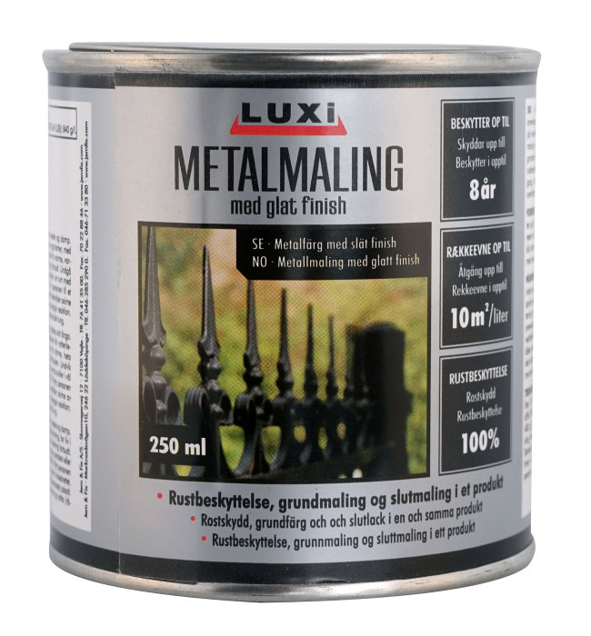 Metalmaling sort 250 ml - Luxi