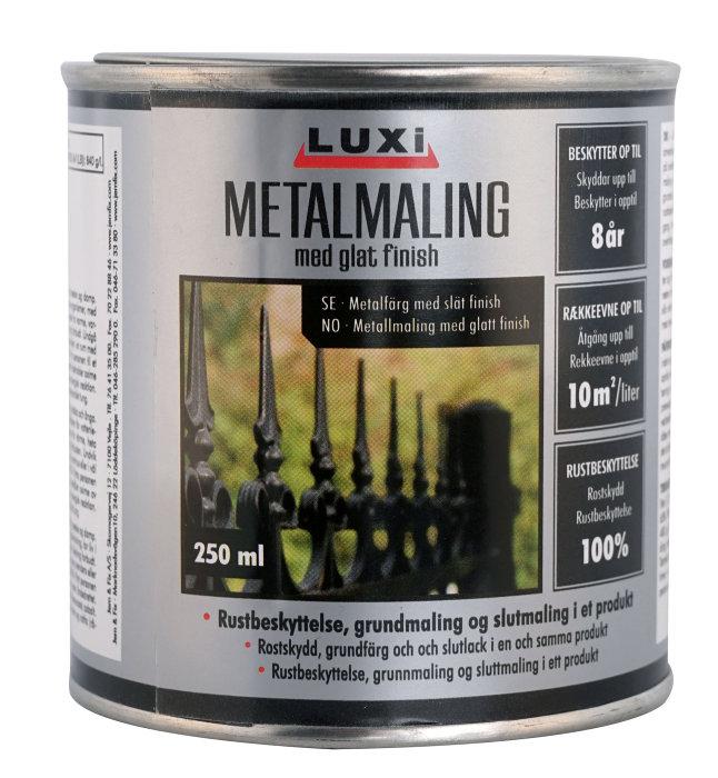 Metalmaling hvid 250 ml - Luxi