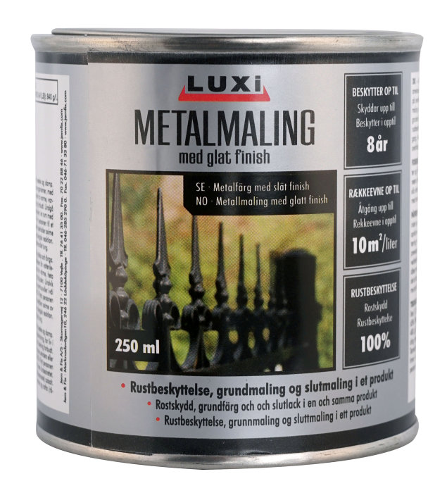 Metalmaling sølv 250 ml - Luxi