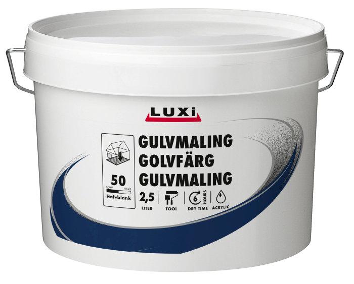 Gulvmaling acryl hvid 2,5 liter - Luxi