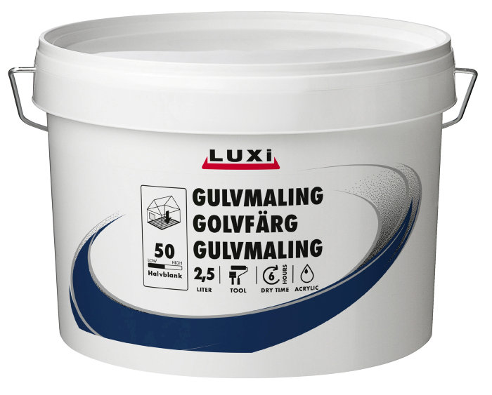 Gulvmaling acryl pastelgrå 2,5 liter - Luxi