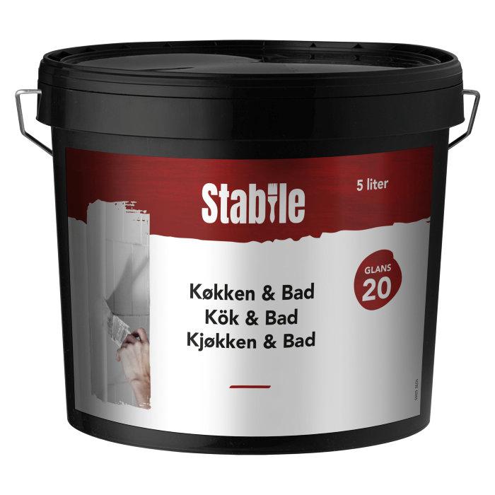Vægmaling køkken/bad glans 20 hvid 5 liter - Stabile
