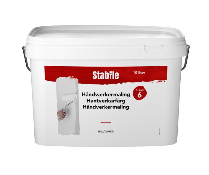 Håndværkermaling glans 6 hvid 12 liter - Stabile