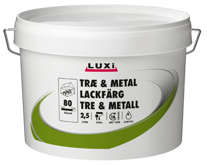 Tre og metall maling vannbasert hvit 2,5 liter - Luxi