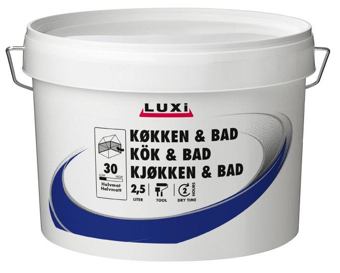 Vægmaling køkken/bad modehvid 2,5 liter - Luxi