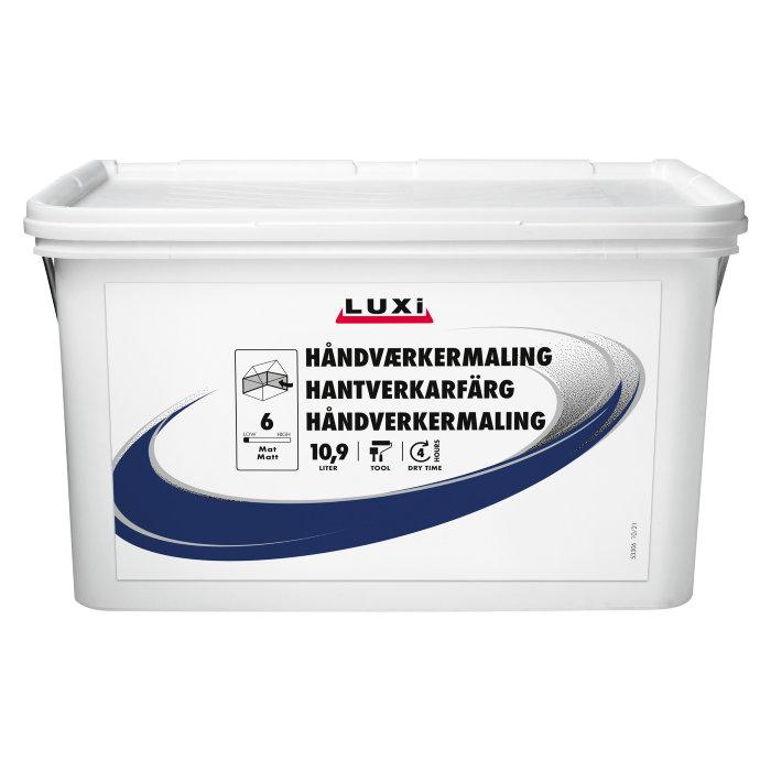 Håndverkermaling glans 6 hvit 12 liter - Luxi