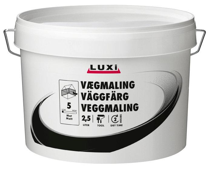 Vægmaling glans 5 sort 2,5 liter - Luxi