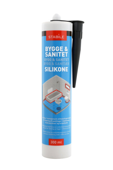 Bygge- & Sanitetssilikone sort 290 ml - Stabile