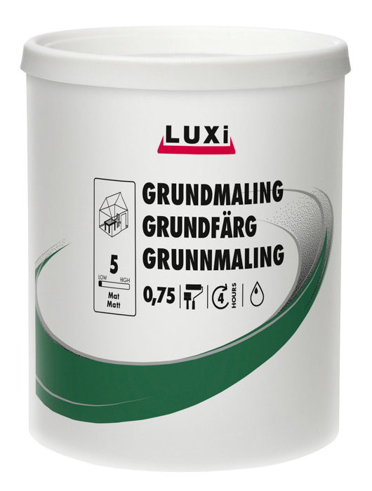 Grundmaling hvid acryl 0,75 liter - Luxi