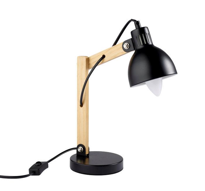 Bordlampe sort metal og træ 37,5 cm