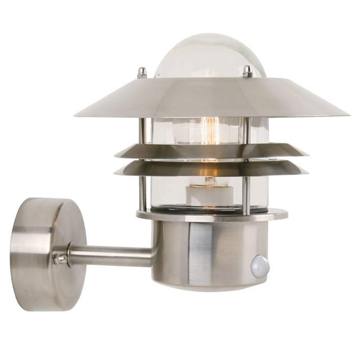 Nordlux Blokhus væglampe i rustfrit stål med sensor | jem & fix