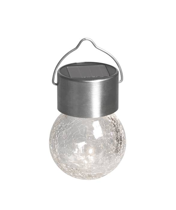 Solcellelampe til ophængning metal/glas 3 stk.
