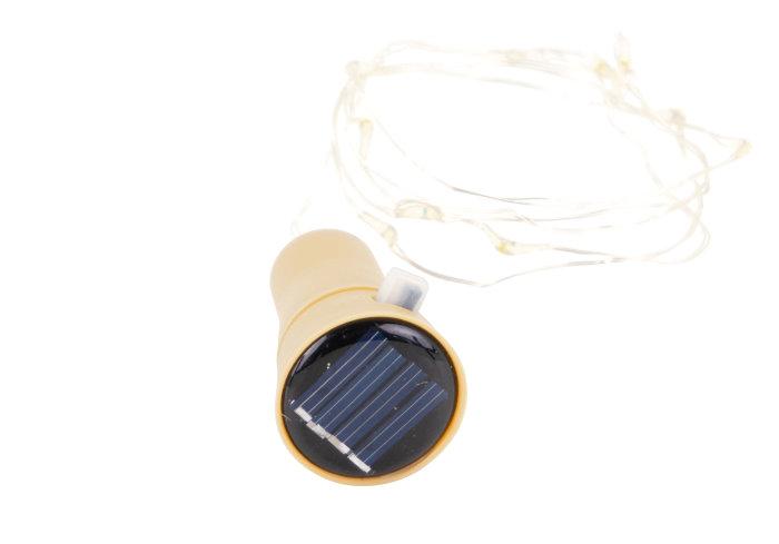 Lyskæde til vinflaske m/solceller og 10 LED