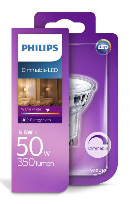 Reflektorlampa LED 5,5 W GU10