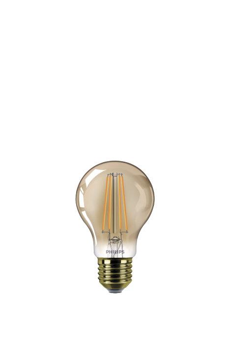 Normallampa LED 7,5W E27 Guld