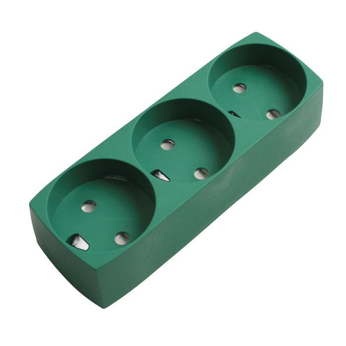 3-Stikdåse Grøn