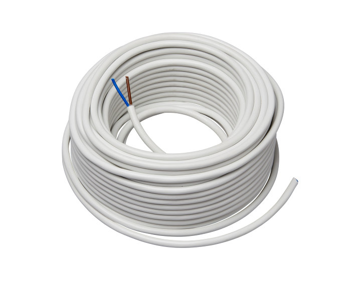 Ledning 2 x 0,75 mm² H03VV-F rund hvid