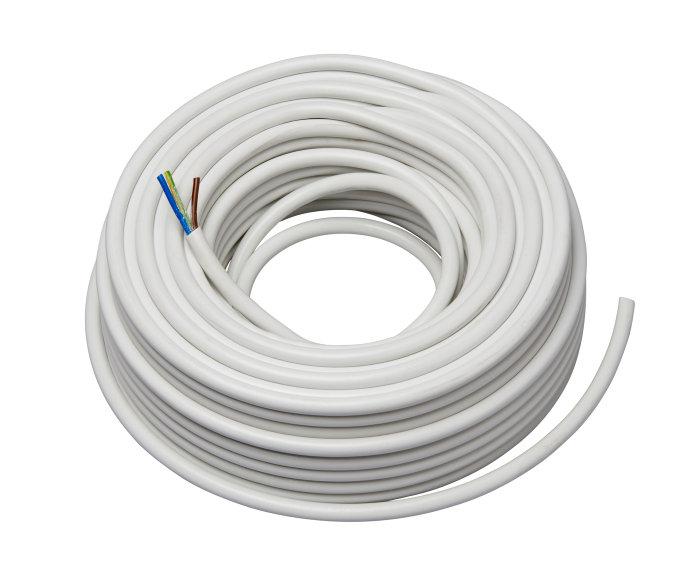 Ledning m/jord 3 x 1,0 mm² H05VV-F rund hvid