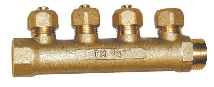 "Komplet fordelerrør 4 tilslutninger. 3/4"" x 15 cm"