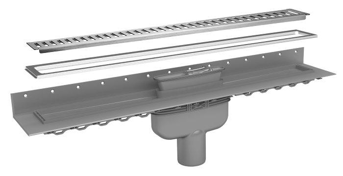 Afløbsrendesæt 900 mm lodret - Purus